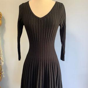 Alaia Black Heavy Knit V-Neck Striped Knit Dress